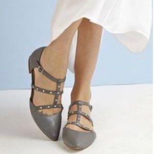 T Strap Metal Studs Flat Loafer Flats